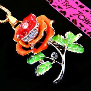 Necklace- NEW- Betsey Johnson - Beautiful Red Rose